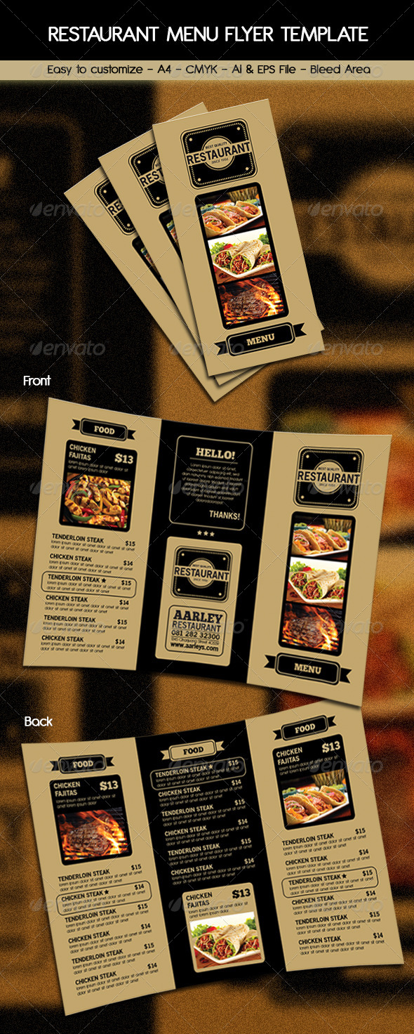 GraphicRiver Trifold Restaurant Menu 6250148