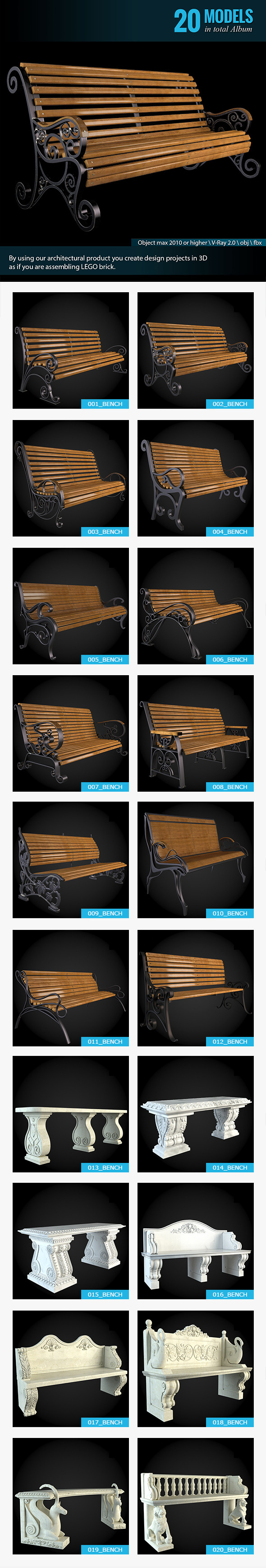 Benches Collection - 3DOcean Item for Sale
