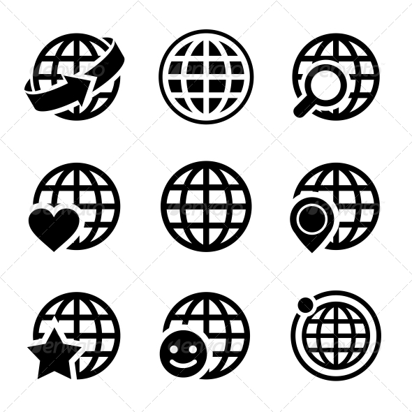 GraphicRiver Globe Earth Vector Icons Set 6277269