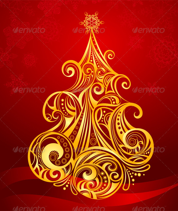 GraphicRiver Golden Christmas Tree 6277287