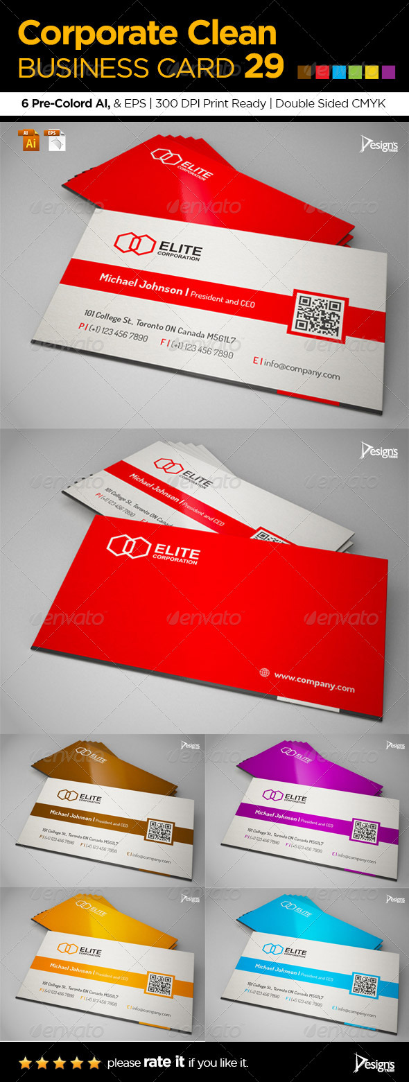 GraphicRiver Corporate Clean Business Card 29 6277362