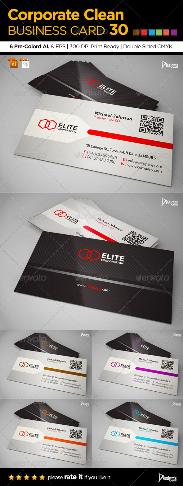 GraphicRiver Corporate Clean Business Card 30 6277472