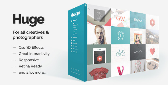 HUGE is one of the most creative themes on the market until today. It is a leap into the future of modern websites, using the latest HTML5 and CSS3 technologie