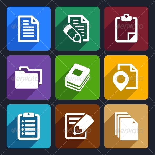 GraphicRiver Documents and Folders Flat Icons Set 19 6277699