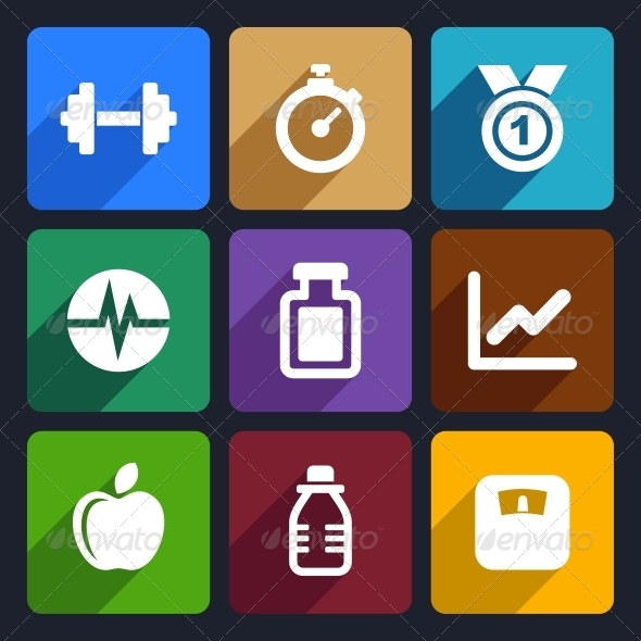 GraphicRiver Fitness Flat Icons Set 17 6277704