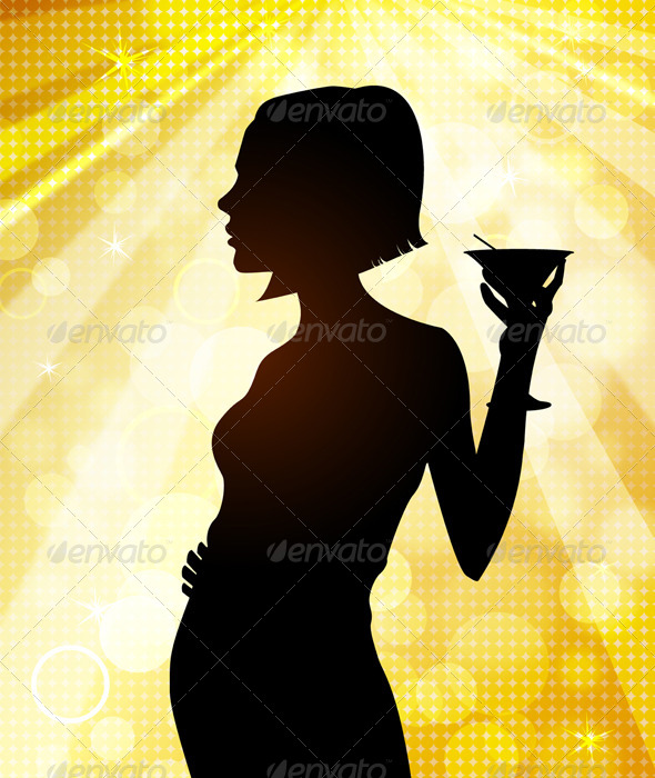 GraphicRiver Silhouette of Young Woman at Disco 6277754