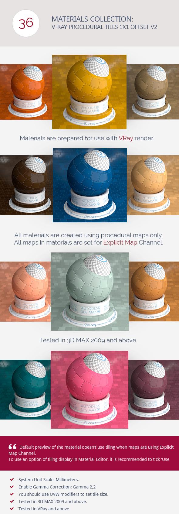 3DOcean V-Ray Procedural Tiles 1x1 Offset V2 6278075