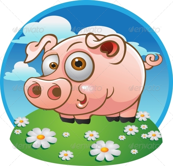 GraphicRiver Young Pig on Color Background 6278356