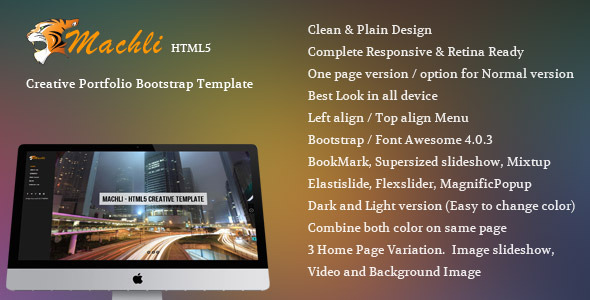 ThemeForest Machli Simple Plain Creative Bootstrap Template 6278655