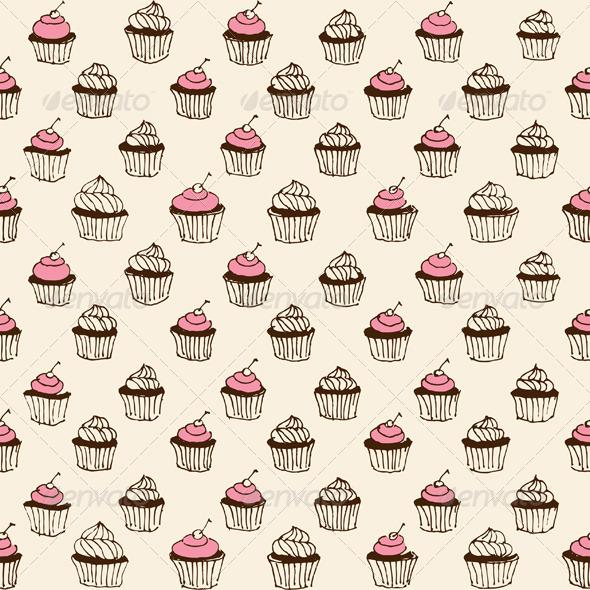 GraphicRiver Cupcake Seamless 6278920