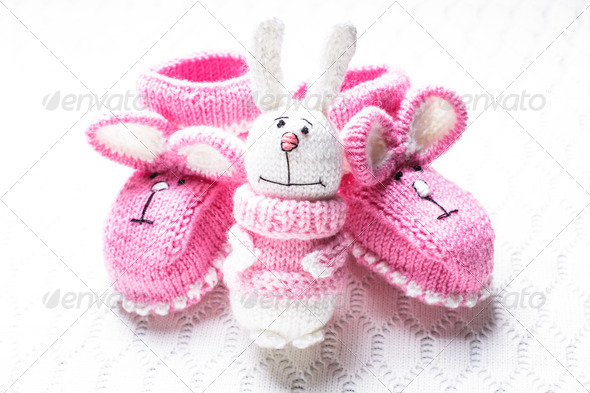 Knitted baby booties - Stock Photo - Images