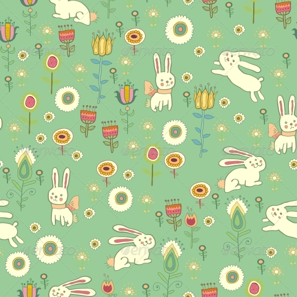 GraphicRiver Bright Easter Pattern with Rabbits 6279916