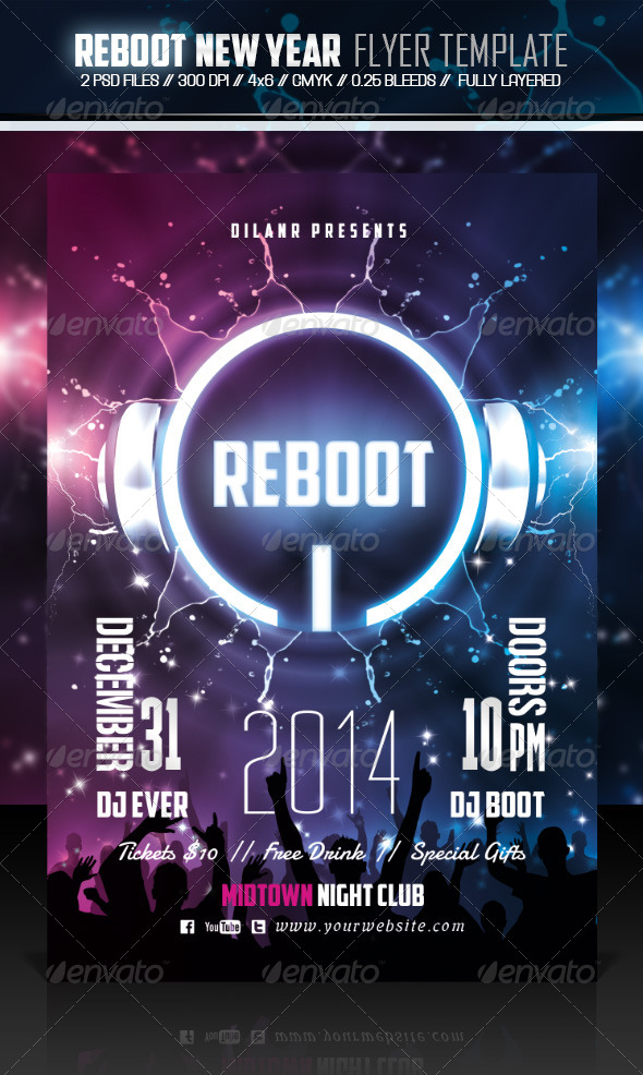 GraphicRiver Reboot New Year Party Flyer Template 6279953