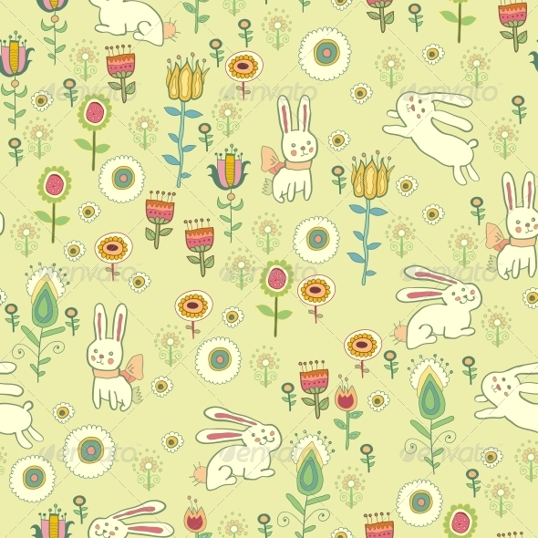 GraphicRiver Bright Childish Seamless Pattern with Animals 6280070