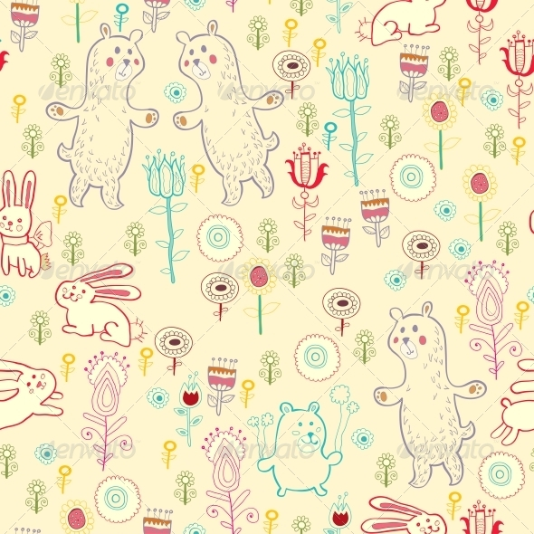 GraphicRiver Bright Childish Seamless Pattern with Animals 6280088
