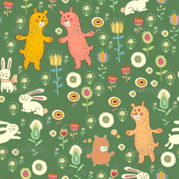 GraphicRiver Bright Childish Seamless Pattern with Animals 6280096