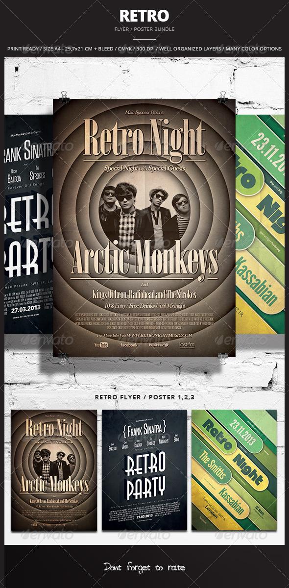 GraphicRiver Retro Flyer Poster Bundle 6280120