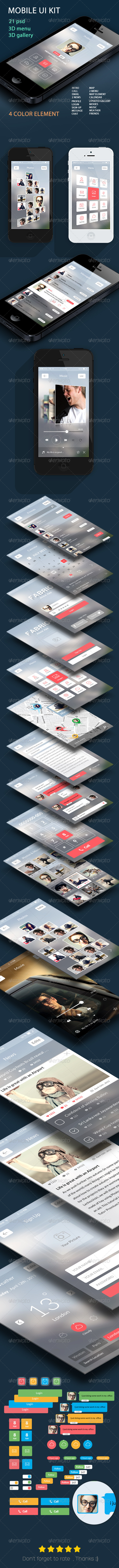 GraphicRiver Mobile UI KIT Flat 6280236