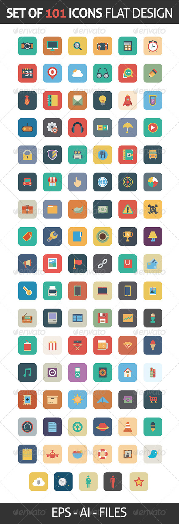 GraphicRiver Flat Icons Square in Vector Format 6253391