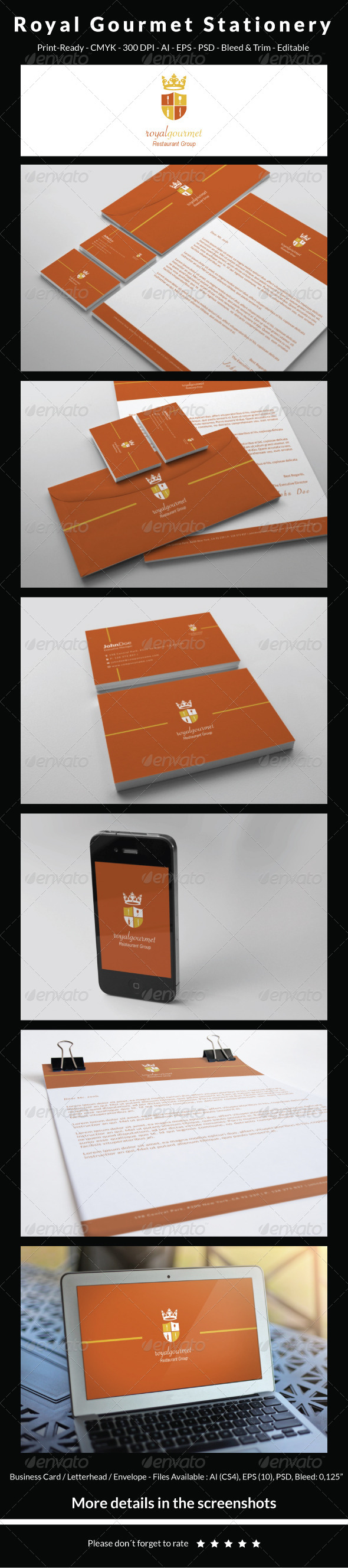 GraphicRiver Royal Gourmet Stationery 6280404