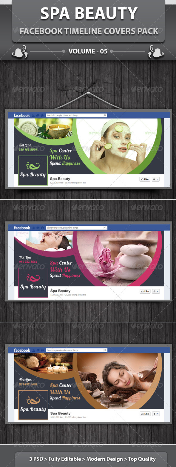 GraphicRiver Spa Beauty Facebook Timeline Covers Pack v5 6280576