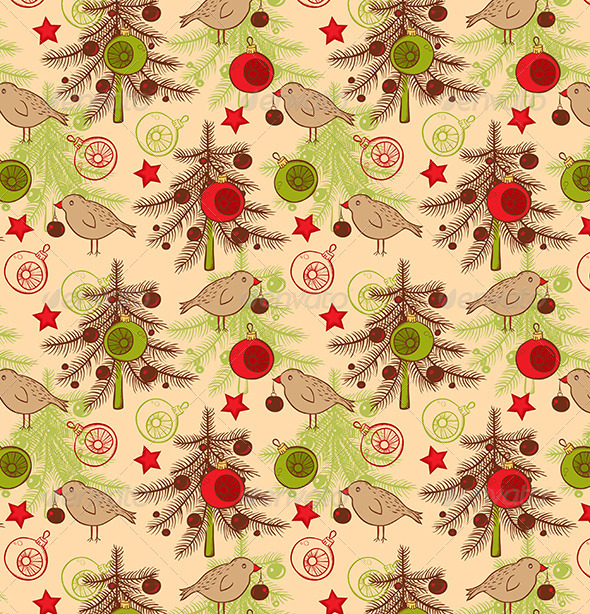 GraphicRiver Seamless Pattern with Birds and Christmas Tree 6280620