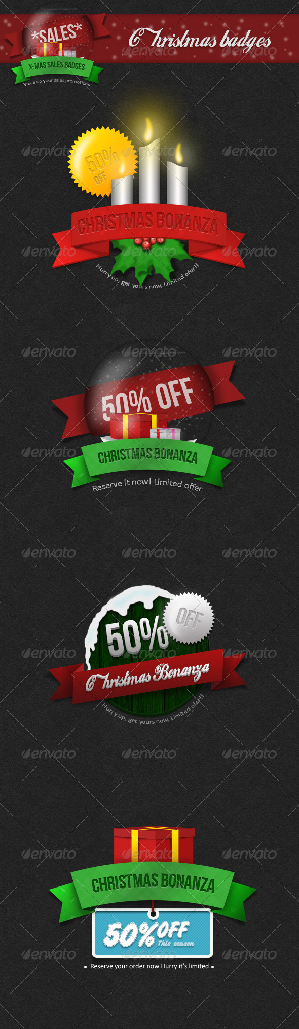 GraphicRiver Christmas Badges For Sale Promotions 6280663