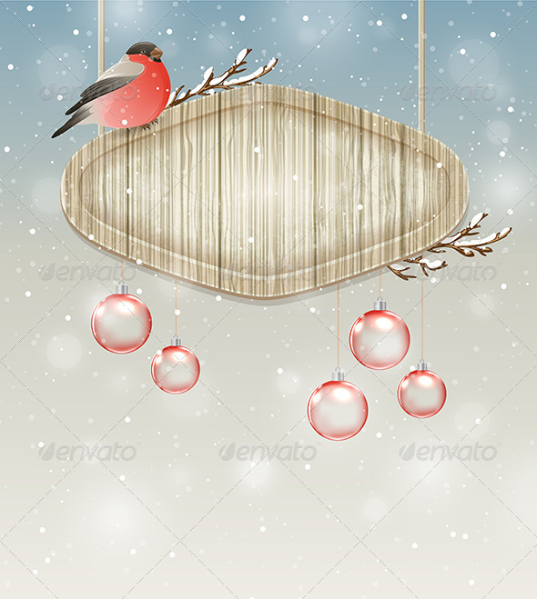 GraphicRiver Bullfinch Decorations and Wooden Banner 6280771