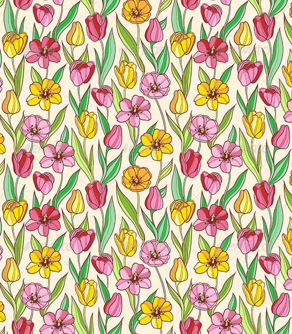 GraphicRiver Pattern with Red and Yellow Tulips 6280799