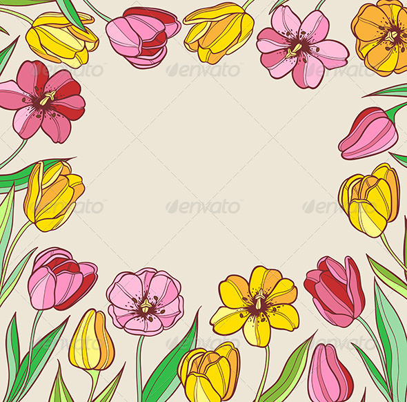 GraphicRiver Background with Red and Yellow Tulips 6280818
