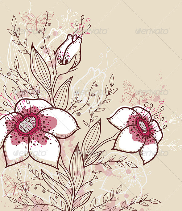 GraphicRiver Background with Red Flowers 6280836