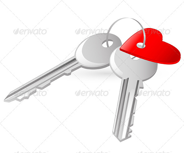 GraphicRiver Two Keys with Red Heart Tag 6280855
