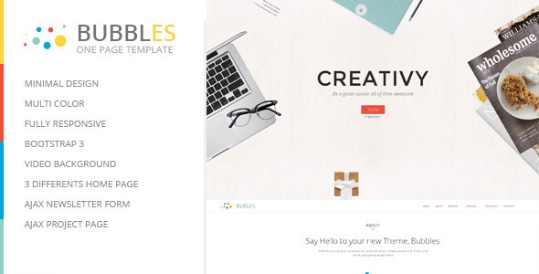 ThemeForest Bubbles Responsive Parallax One Page Template 6237886