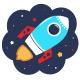 Cartoon Colorful Rocket in Space