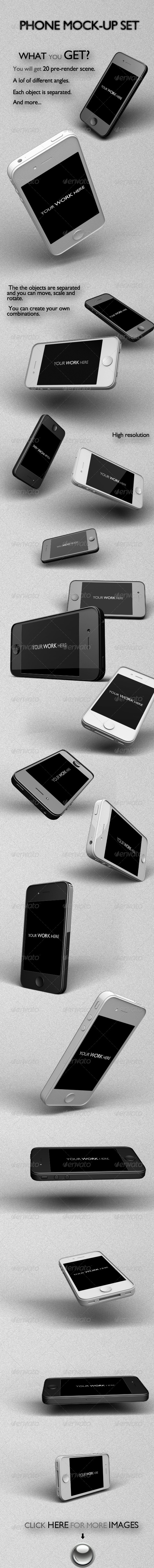 GraphicRiver Responsive Phone Mock-Up Set 6281347