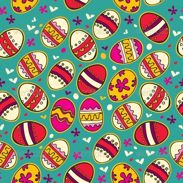 Blue Pattern with Colorful Easter Eggs