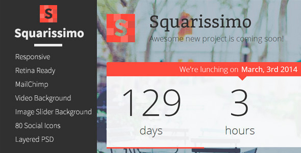 Squarissimo - Responsive Coming Soon Template - Under Construction Specialty Pages
