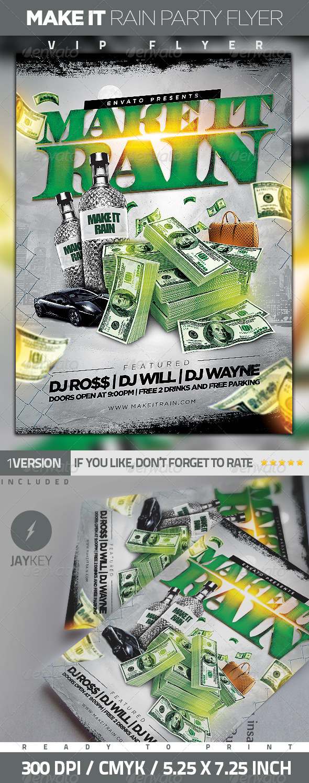 GraphicRiver Make It Rain Party Flyer 6282256