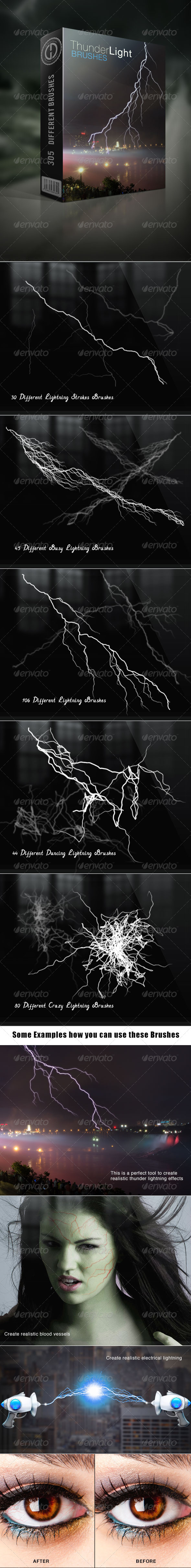 GraphicRiver Thunder Lightning Brushes 6283100