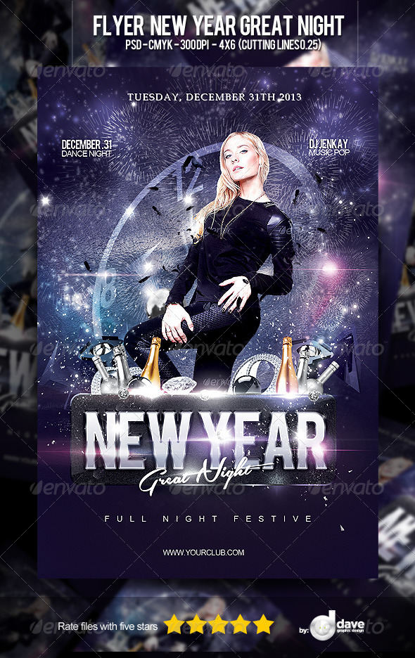 Flyer New Year Great Night - Clubs & Parties Events