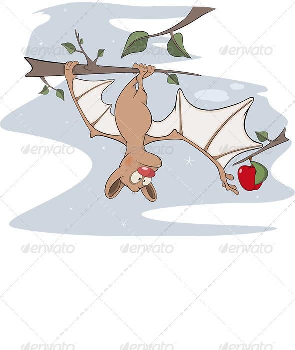GraphicRiver Cheerful Bat and an Apple cCartoon 6283442