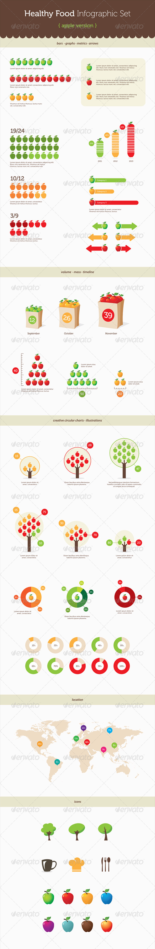 GraphicRiver Infographic Elements Healthy Food Apple 6283455