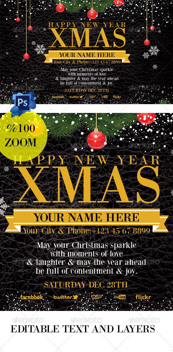 GraphicRiver Christmas Invation Card black 6248226
