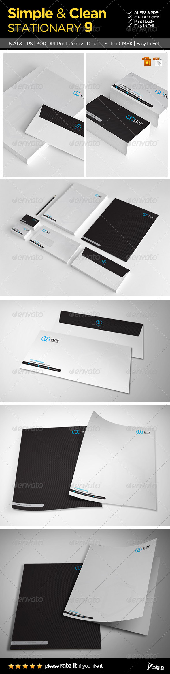 GraphicRiver Simple and Clean Stationary 9 6283928