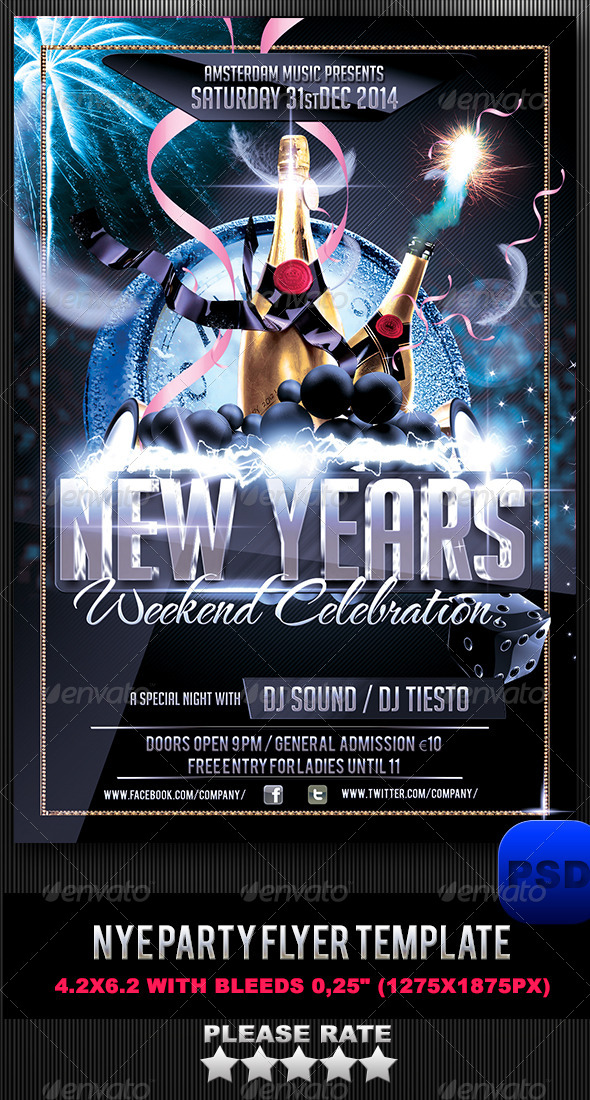 GraphicRiver NYE Party Flyer Template 6283993