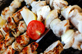 chicken shish kebab cooked on barbecue