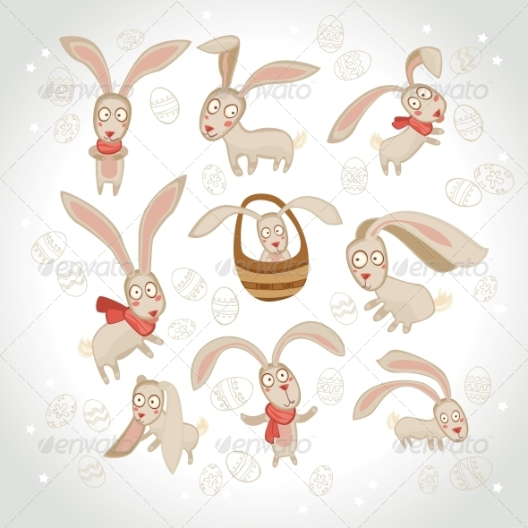 GraphicRiver Vector Illustration of Collection of Easter Bunny 6284375