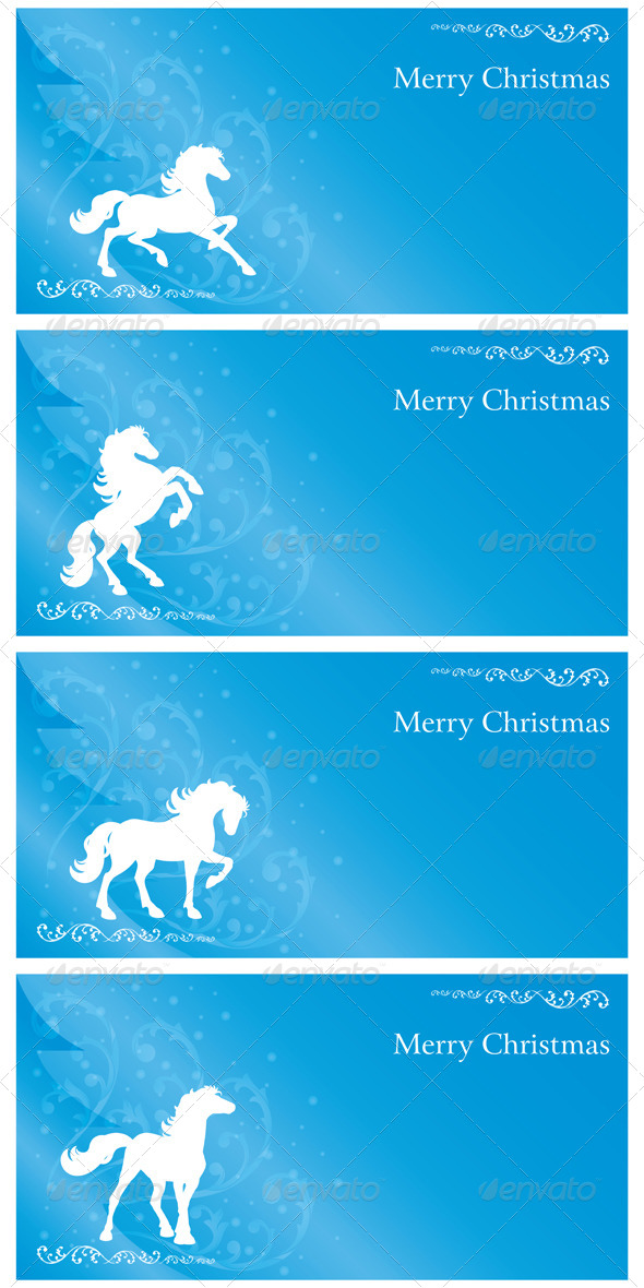 GraphicRiver Christmas Set with Horse Silhouette 6284383