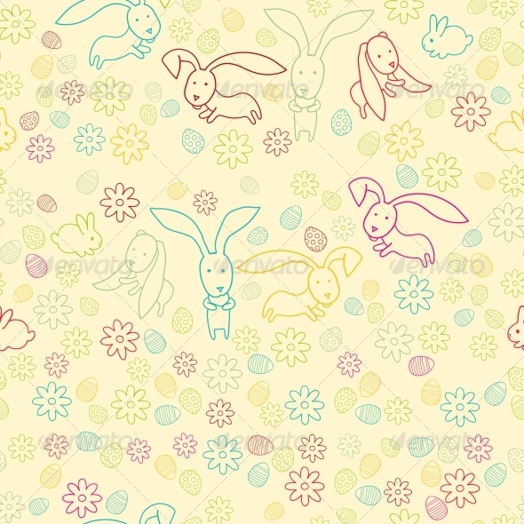 GraphicRiver Background with Easter Bunnies and Eggs 6284413