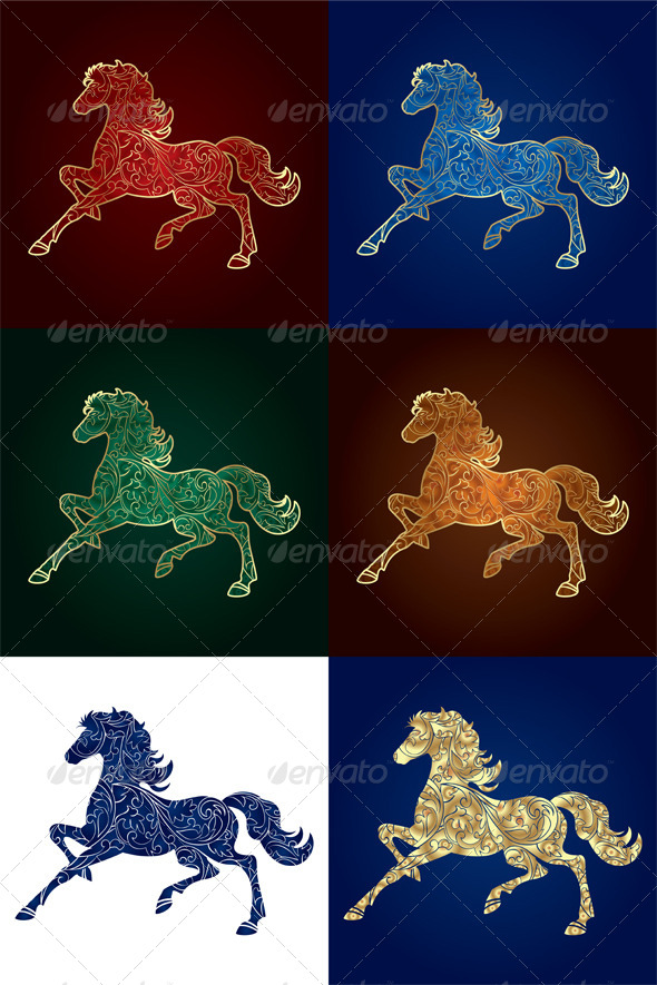 GraphicRiver Set of Vintage Horse Silhouette 6284418